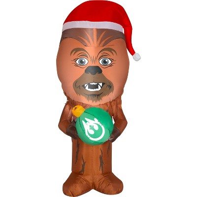 Gemmy Christmas Airblown Inflatable Inflatable Chewbacca with Santa Hat, 3.5 ft Tall, Brown