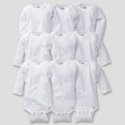 Gerber Baby Organic Cotton 9pc Long Sleeve Onesies Grow With Me Bodysuits - 0-9M