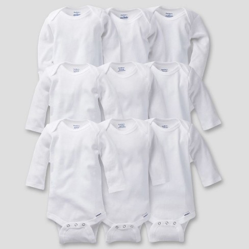 Gerber Baby Organic Cotton 9pc Long Sleeve Onesies Grow With Me Bodysuits - 0-9M - image 1 of 4