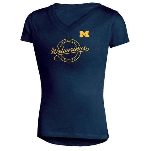Michigan Wolverines Girls' Short Sleeve Puff Print V-Neck Tunic T-Shirt - image 1 of 1