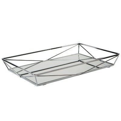 Large Geometric Mirrored Vanity Tray Chrome - Home Details