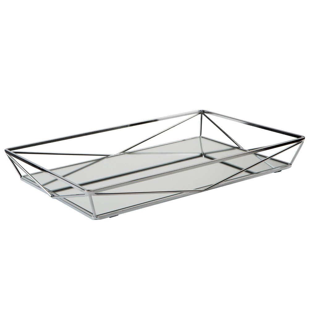 Image of Large Geometric Mirrored Vanity Tray Chrome - Home Details, Silver