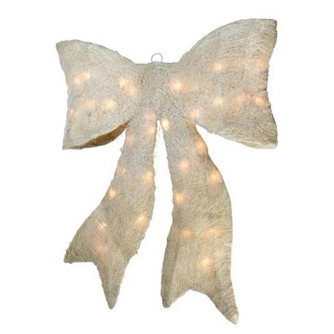 "Northlight 24"" Pre-lit Sparkling Cream Sisal Bow Christmas Decoration - image 1 of 1"