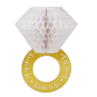 Sparkle and Bash 6-Pack Honeycomb Ring Decorations for Wedding, Bachelorette Party, 8.25 x 11.75 inch