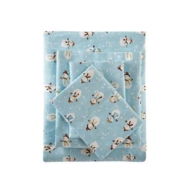 Flannel Print Sheet Set (Queen)Blue Snowmen