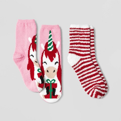 Kids' Holiday Unicorn 2pk Cozy Crew Socks with Gift Card Holder - Wondershop™ Pink - image 1 of 2