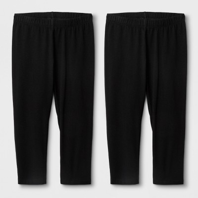 Girls' 2pk Capri Leggings - Cat & Jack™ Black