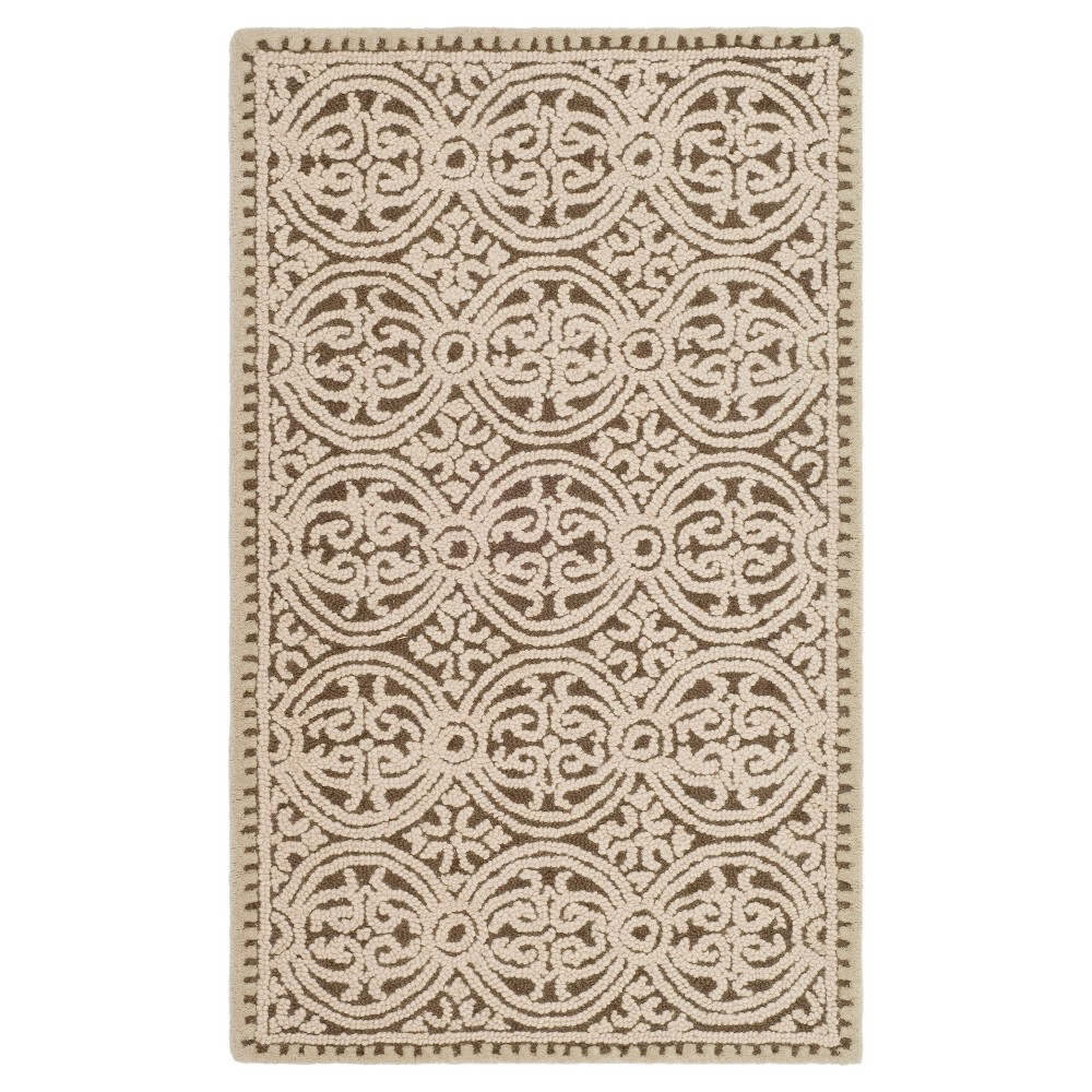 3'X5' Medallion Accent Rug Tan - Safavieh, Beige