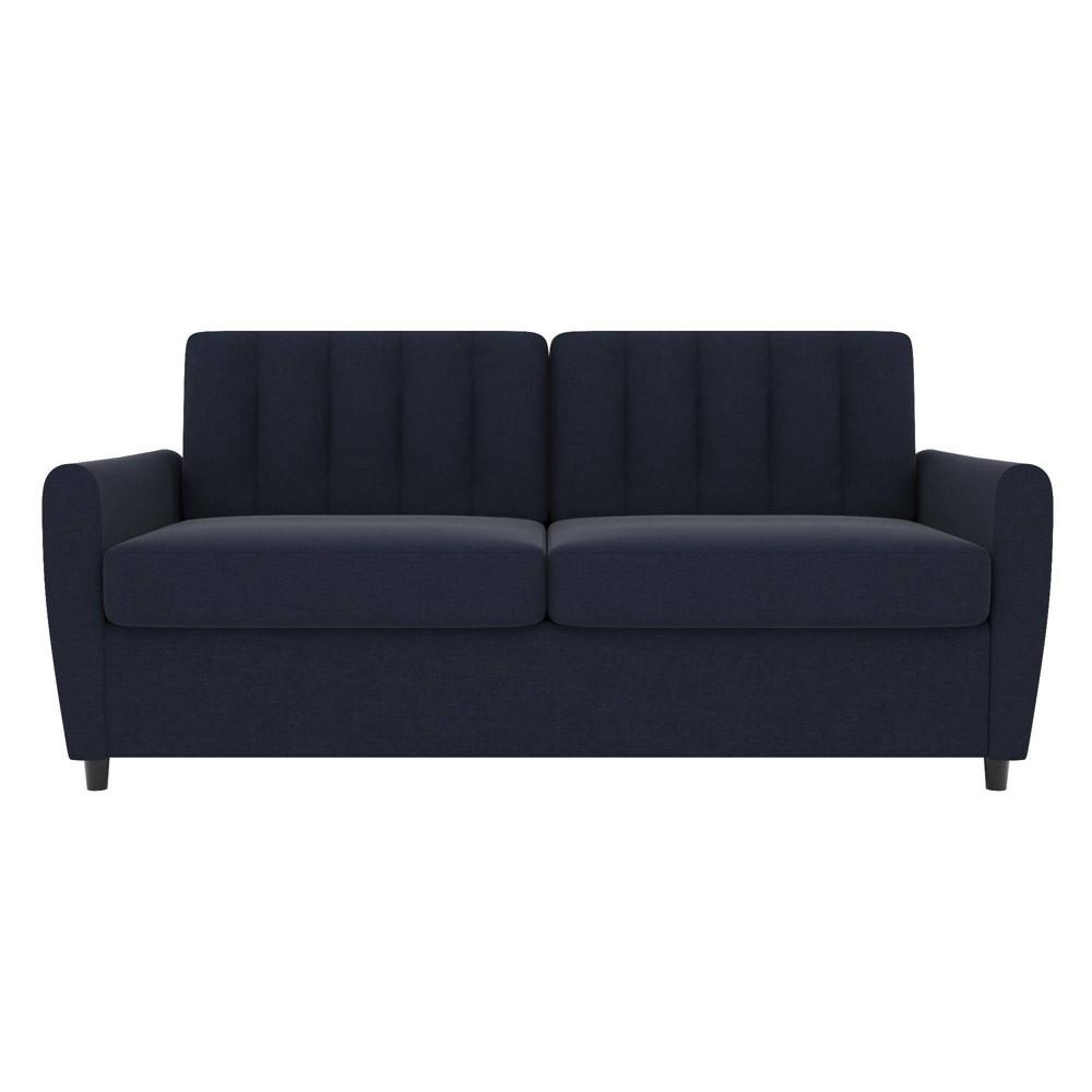 Image of Queen Brittany Sleeper Sofa with Memory Foam Mattress Blue - Novogratz