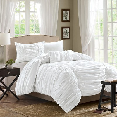 White Pacifica Comforter Set Queen 4pc