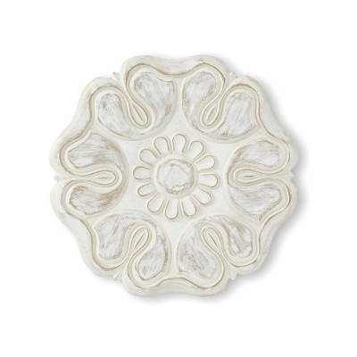 """Lakeside Wooden 16"""" Carved Hanging Wall Flower Sculpture for Indoors"""
