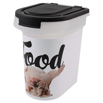 Paw Prints BullDog Photo Printed Pet Food Storage Container - S