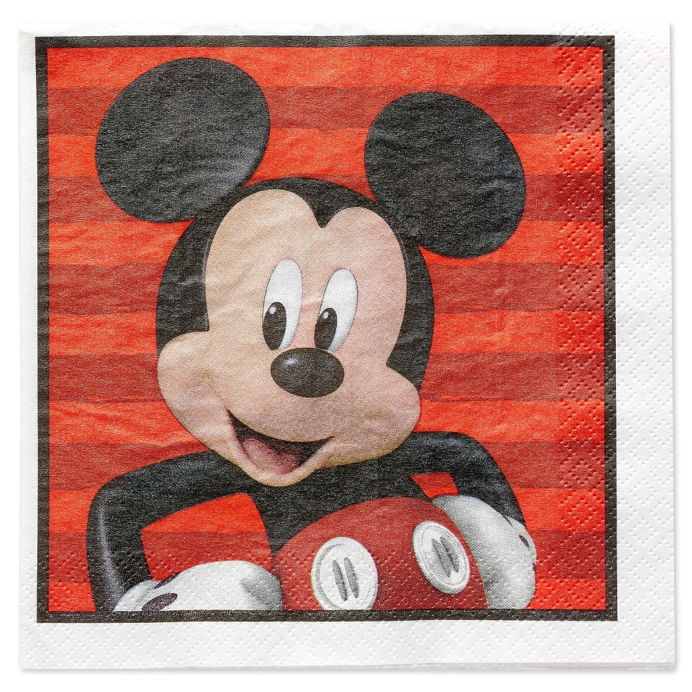 Image of Mickey Mouse 16ct Paper Napkins Disposable Kit - Disney, Multi-Colored