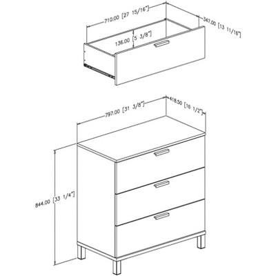 Flexible 3 Drawer Dresser Black - South Shore