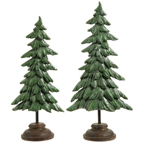 """Raz Imports Set Of 2 Green And Brown Glitter Pine Tree Christmas Decorations 17"""" : Target"""