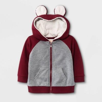 Baby Boys' Sherpa Lined Hooded Jacket - Cat & Jack™ Maroon 0-3M