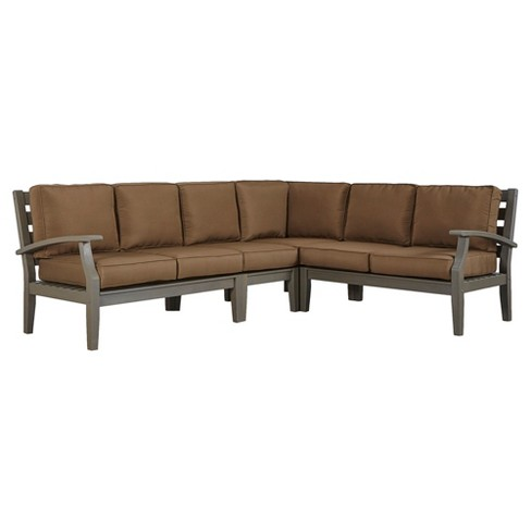 Parkview Wood Patio 6-Seat Sectional with Cushions - Gray/Brown - Inspire Q - image 1 of 1