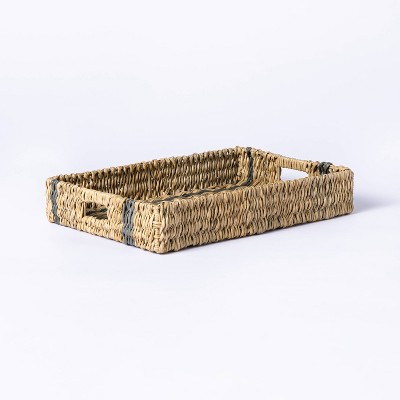 Manmade Outdoor Wicker Tray Gray Stripes - Threshold™ designed with Studio McGee