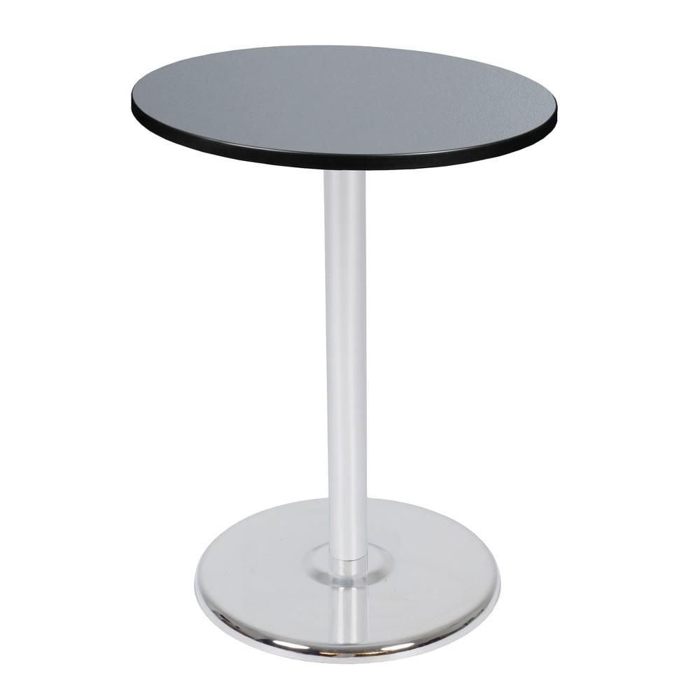 30 Via Cafe High Round Platter Base Table Gray/Chrome (Gray/Grey) - Regency