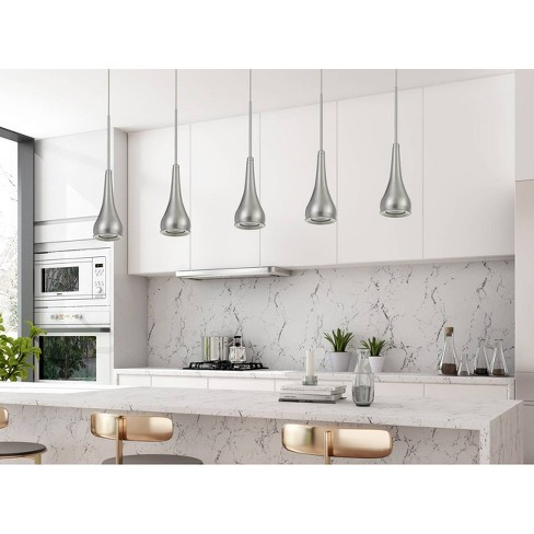 Kornos LED Dimmable Metal Pendant Fixture Brushed Steel - Cal Lighting - image 1 of 1
