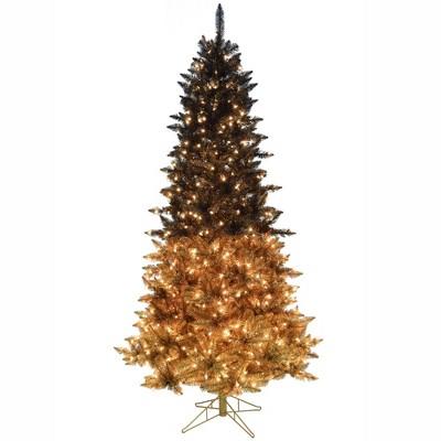 Vickerman Black Gold Ombre Artificial Christmas Tree