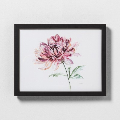11  X 14  Pink Flower Wall Art with Black Wood Frame - Hearth & Hand™ with Magnolia