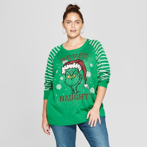 Womens The Grinch Plus Size Never Naughty Ugly Sweater Juniors