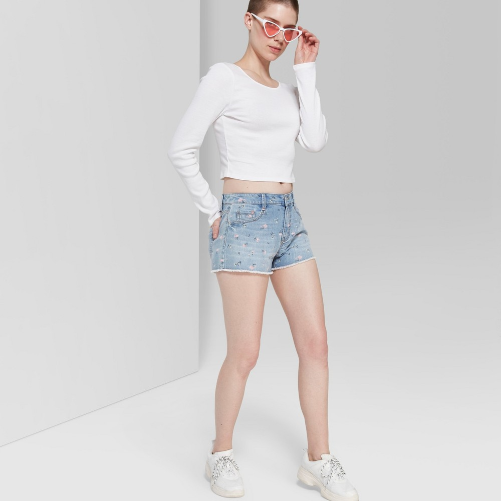 Women's Floral Print High-Rise Cutoff Jean Shorts - Wild Fable Blue 10