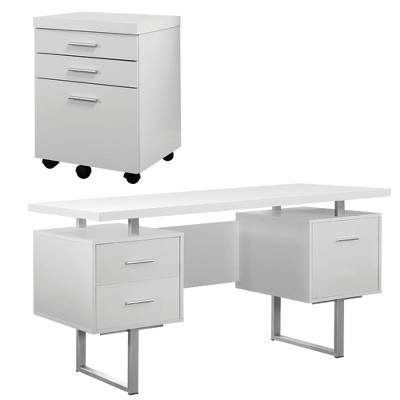 Monarch 60 Inch Office Computer Desk w/ Filing Drawer & 3 Drawer Filing Cabinet