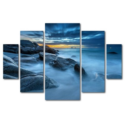 5pc Blue Hour for a Blue Ocean by Mathieu Rivrin - Trademark Fine Art