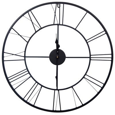 "24"" Metal Cutout Roman Numeral Wall Clock Black - Gallery Solutions"