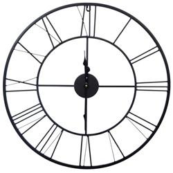 "24"" Metal Cutout Roman Numeral Wall Clock Black - Gallery Solutions"