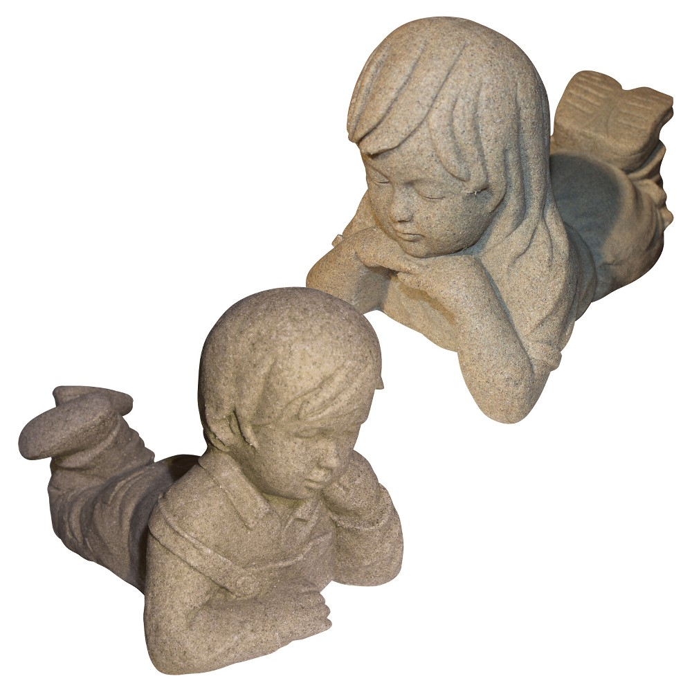 "Image of ""10.88"""" Garden Stone Day Dreamers Boy And Girl Statuary, 1 Of Each - Sand - Emsco, Brown"""