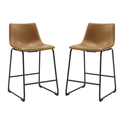 Set Of 2 Faux Leather Dining Kitchen Counter Height Barstools Whiskey Brown - Saracina Home
