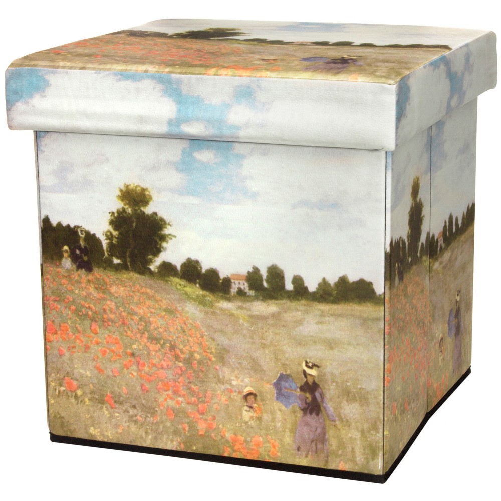 Monet Poppies Storage Ottoman - Oriental Furniture, Multicolored