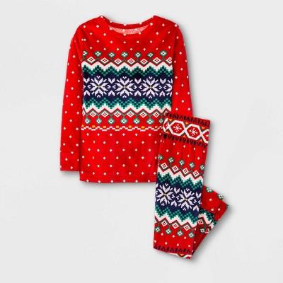 Toddler Boys' Snowflake Tight Fit Pajama Set - Cat & Jack™ Red