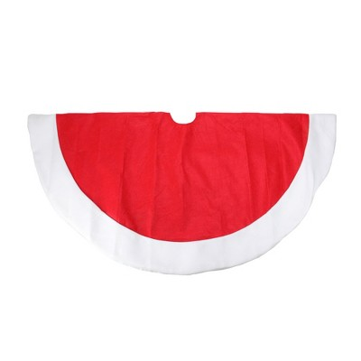 """Northlight 48"""" Red and White Traditional Christmas Tree Skirt with Border"""
