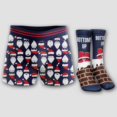 Men's Holiday Hat & Beard Boxer Briefs & Socks Set