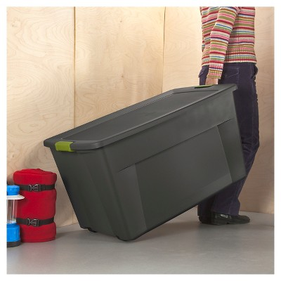 Sterilite® 45 Gal Latching Storage Tote   Gray With Green Latch : Target