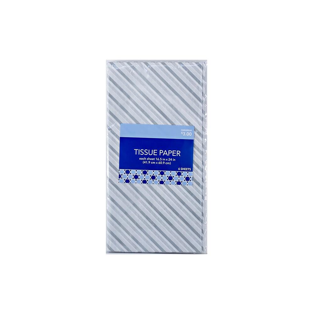 6ct Hanukkah Tissue Paper Silver/Gray/White Stripes