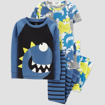 Baby Boys' 4pc Monster Pajama Set - Just One You® made by carter's Blue 12M