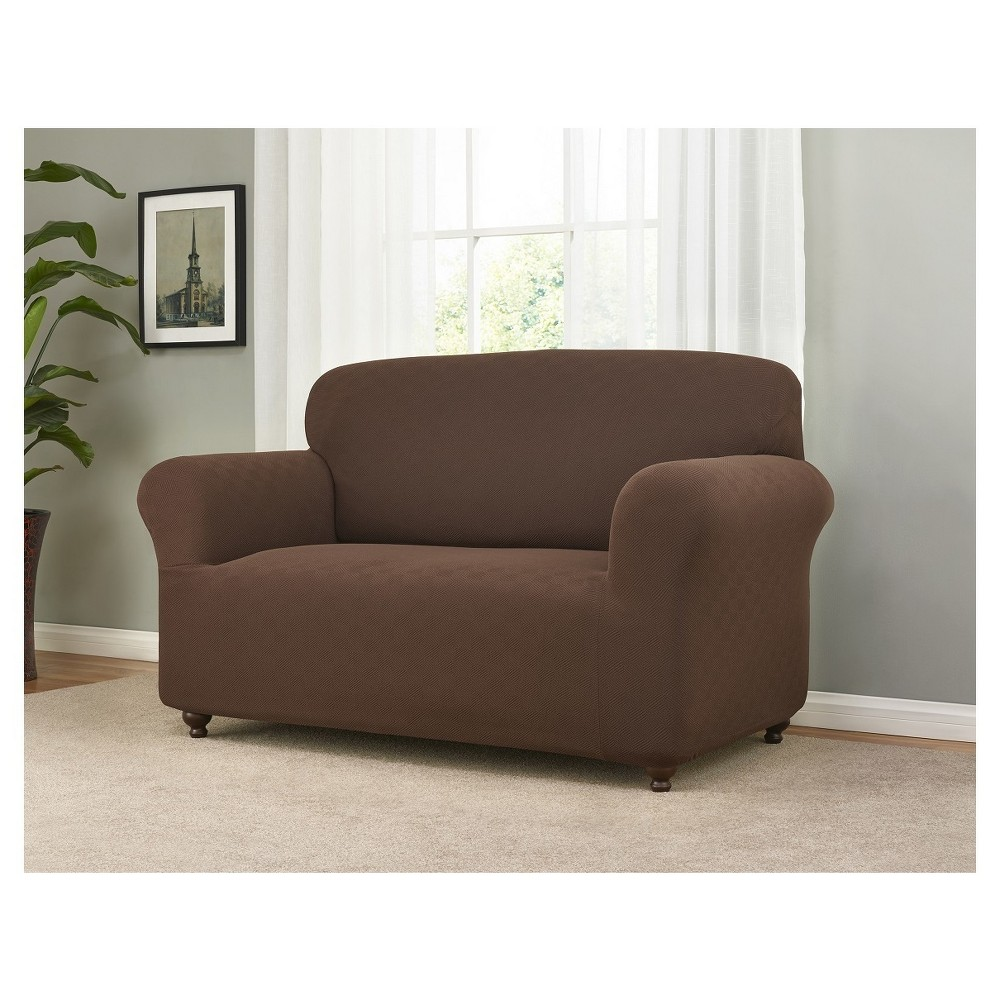 Image of Brown Solid Loveseat Slipcover