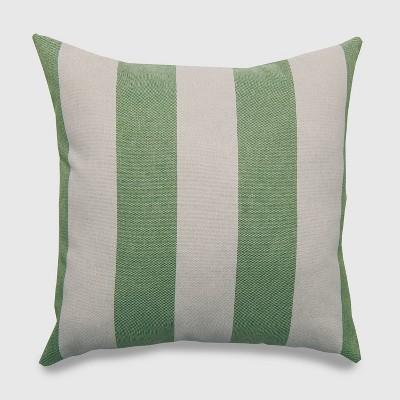 Square Cabana Stripe Outdoor Pillow Green - Threshold™