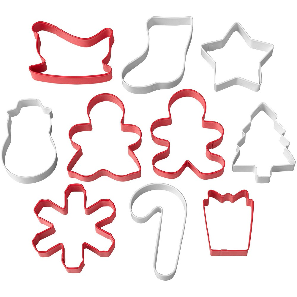 Image of Wilton 10pc Holiday Tube Cookie Cutter Set, Red White