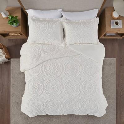 Full/Queen Alivia Faux Fur Ultra Plush Comforter Mini Set Ivory