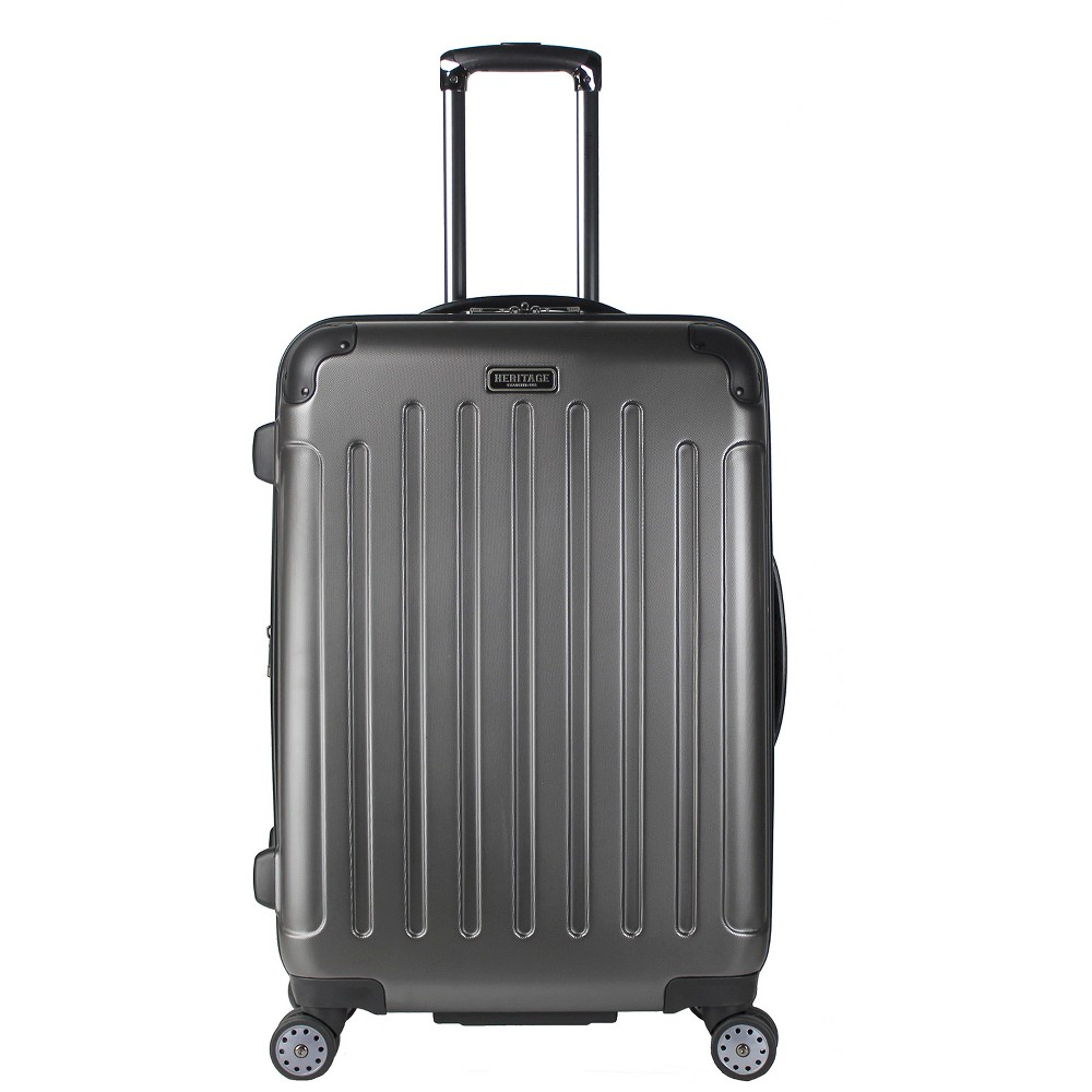 "Image of ""Heritage Logan Square Charcoal Polycarbonate & ABS Blend Lightweight 8 Wheel Expandable Suitcase - Charcoal (25""""), Grey"""