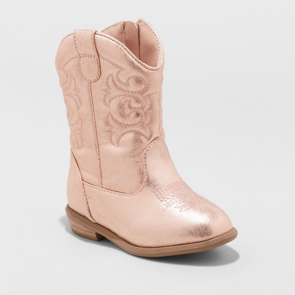 Toddler Girls' Christine Metallic Cowboy Boots - Cat & Jack Rose Gold 12, Pink