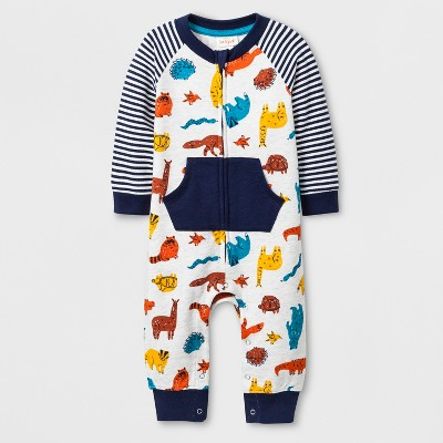 Baby Boys' Long Sleeve Romper - Cat & Jack™ White/Blue 3-6M
