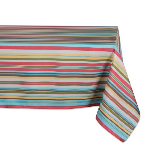 """120""""x60"""" Summer Stripe Outdoor Tablecloth -Design Imports - image 1 of 3"""