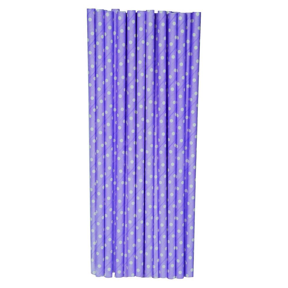 20ct Purple Polka Dot Paper Straw - Spritz